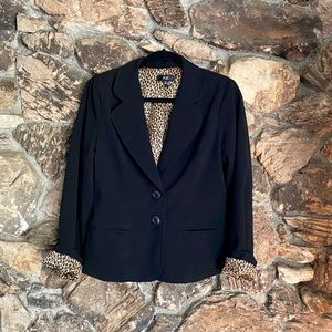 Black leopard-print lined blazer by AGB